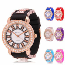 Geneva Silicone Jelly Gel Girl Women's Crystal Quartz Sport Wrist Watch New