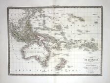 1829 - Oceania Australia Indonesia Polynesia New Zealand Karte map Lapie