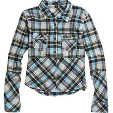 NEW WOMENS FOX RIDERS RACING MOTO X PLAID BUTTON DOWN SHIRT BLOUSE TOP TUNIC XS