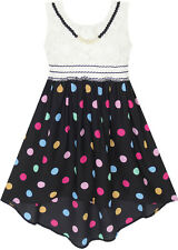 Girls Dress Hi-lo Maxi Chiffon Lace Polka Dot Necklace Party Age 7-14 Years