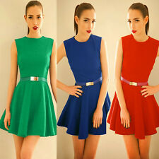Trendy Crew Neck Sleeveless Pleated Womens Casual Mini Dress Sundress Solid Belt