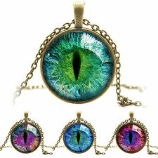 Vintage Colored Dragon Cat Eye Cabochon Glass Pendant Silver Chain Necklace Gift
