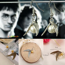 Harry Potter Hogwarts Quidditch Antique Creative Silver Wings Earrings Hook UK
