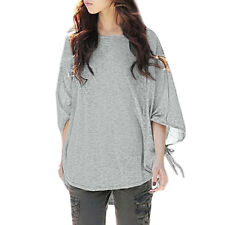 Women Round Neck Batwing Sleeves Self Tie Cuffs Loose T-shirt