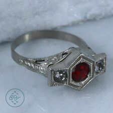 Vintage Plated Silver - ART NOUVEAU Red Bezel Set Rhinestone- Ring (6.75)