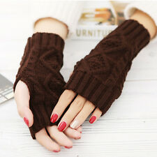 Women Brand Winter Wrist Arm Hand Warmer Knitted Long Fingerless Gloves Mitten