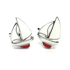 Enamelled Red Keel Yacht Cufflinks & Gift Pouch