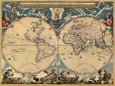 Classic Cartography Art Print: World Map of 1664 by Joan Blaeu