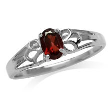 Natural Garnet 925 Sterling Silver Filigree Solitaire Ring