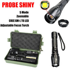 5000LM Zoomable XML T6 LED Tactical Police Flashlight 18650 Battery Charger Case