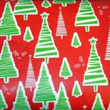 CHRISTMAS TREES VINYL TABLECLOTH~Flannel Back~ALL SIZES~Red/Green~NEW