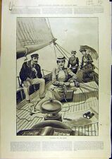 Old Antique Print 1892 Yachting Sailing Coast Cruising Boat Yacht 22A8761