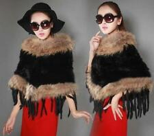 100% Real rabbit fur knit Shawl cloak scarf Coat jacket raccoon Fur Collar Hand