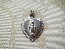 Vintage CHAPEL STERLING Heart Shaped Miraculous Religious Medal Virgin Mary