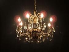 RARE Antique French Empire Brass Crystal Chandelier Bronze Regency Tole Vintage