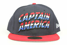 Marvel Comics Captain America Wordmark Red White Navy New Era 59Fifty Fitted Hat