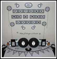 ** ENGAGEMENT PARTY Black White Damask Floral PERSONALISED Party Decorations **