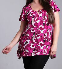 NEW MARINA KANEVA PINK CHERISE FLORAL PLUS SIZE JERSEY BLOUSE TOP UK SIZE 16 18