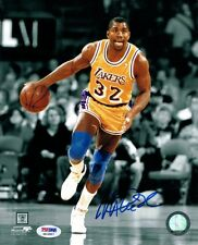 Magic Johnson Hand Signed Autographed 8x10 Photo LA Lakers B&W Dribble PSA DNA