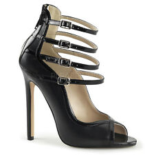 "PLEASER SEXY-17 Women's 5"" Heel Open Toe Multi Ankle Strap Back Zip Pumps"