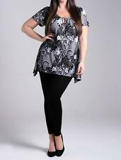 NEW LADIES MARINA KANEVA BLACK WHITE BATIK FLORAL PLUS SIZE TOP TUNIC BLOUSE