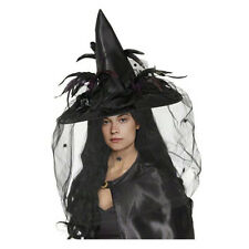 Halloween Costume Powerful Witch Hat Wizard Cap Spider Feather Headwear Holiday