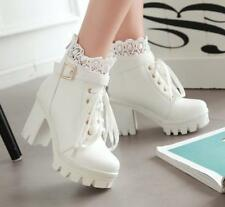 Womens Lolita Lace Buckle Strap Gothic Block High Heels Ankle Boots Plus Size @@
