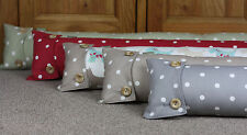 Shabby Chic Draught Excluder Polka Dot Spotty fabric Taupe Grey Red Green (90cm)
