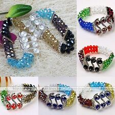 "Women Crystal Glass Faceted Gemstone Spacer S Bead Stretchy Bracelet Bangle 7""L"