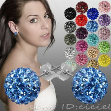 Stylish Women Girls 10mm Czech Crystal Clay Disco Ball Stud Earrings 11Colors