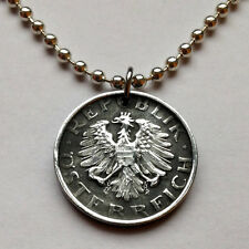 Austria 10 Groschen coin pendant Austrian necklace EAGLE wings jewelry n000436