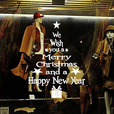 Wish Merry Christmas Newyear Tree Wall Stickers Vinyl Decal Window Removable