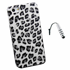 White Leopard Back Case Cover for Apple iPhone 5 New + Stylus Silver