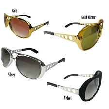 CLASSIC Elvis Presley The King TCB Rock and Roll Sunglasses Gold Silver