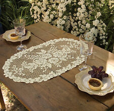 Victorian Rose Doily by Heritage Lace, 13x24 White or Ecru Vintage Romantc Style