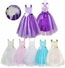 Flower Girl Lace Dress Formal Princess Pageant Wedding Birthday Party Bridesmaid