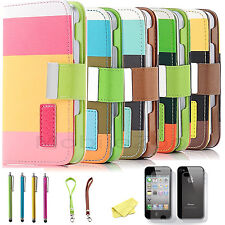 Magnetic Flip PU Leather Pouch Wallet Stand Case Cover For Apple iPhone 4S 4