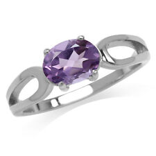 1.4ct. Natural Oval Shape African Amethyst 925 Sterling Silver Solitaire Ring