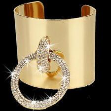 GOLD OR SILVER Pave Set Crystal Cz Circle Tennis Cuff Statement Bangle Bracelet