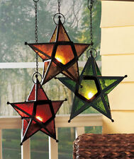Moroccan Style Glass Hanging Star Lanterns Metal Red Green Gold Christmas Decor