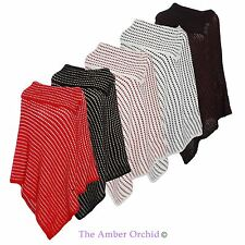 Ladies Womens Knitted Spotted Winter Poncho Wrap Cardigan Top One Size UK 8-14