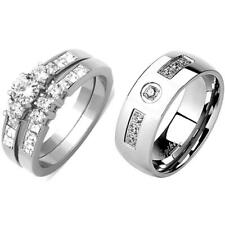 3 PCS His Hers Stainless Steel Round CZ Wedding Ring Set /Mens 7 Round CZs Band