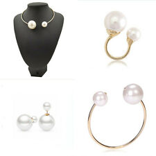 Fashion Women White Pearl  Collar Necklace+ Bracelet+ Earring +Ring Jewelry Gift