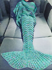 Handmade Crochet Knit Adult Children Kids Mermaid Tail Sofa Blanket Sleeping Bag
