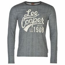 Lee Cooper Mens Textured T Shirt Cotton Casual Long Sleeve Crew Neck Tee