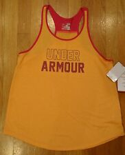 NWT UNDER ARMOUR TANK TOP GRAPHIC LOOSE FIT ORANGE SHIRT GIRLS YOUTH XLARGE