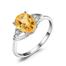 JewelryPalace1.8ct Genuine Citrine White Rock Crystal Ring 925 Sterling Silver