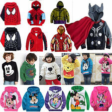 Girls Boys Superman Mickey Hoodie Jumper Tops Hooded Jacket Sweatshirt Outwear