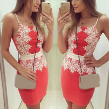 Women Sexy Bodycon Mini Dress Straps Party Evening Clubwear Ball Slim Lace Dress