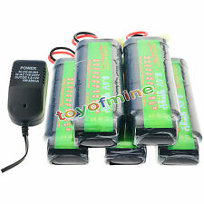 5x 8.4V NiMH 3800mAh Rechargeable Battery Pack Tamiya Plug + Charger